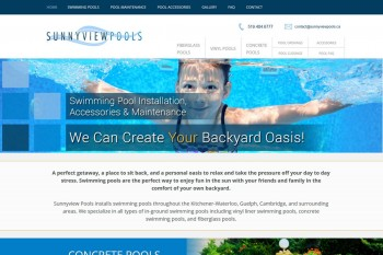 Kitchener Waterloo Website Design - Sunnyview Pools